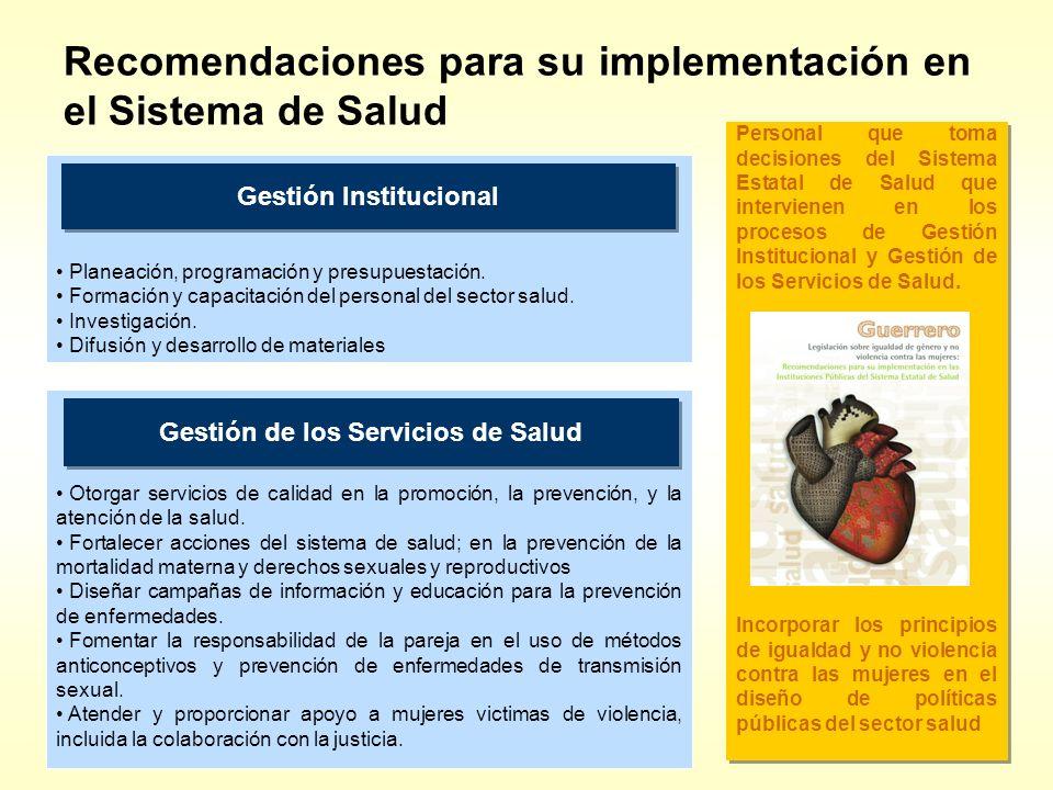 Recomendaciones para su implementación en el Sistema de Salud