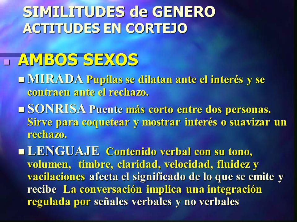 SIMILITUDES de GENERO ACTITUDES EN CORTEJO