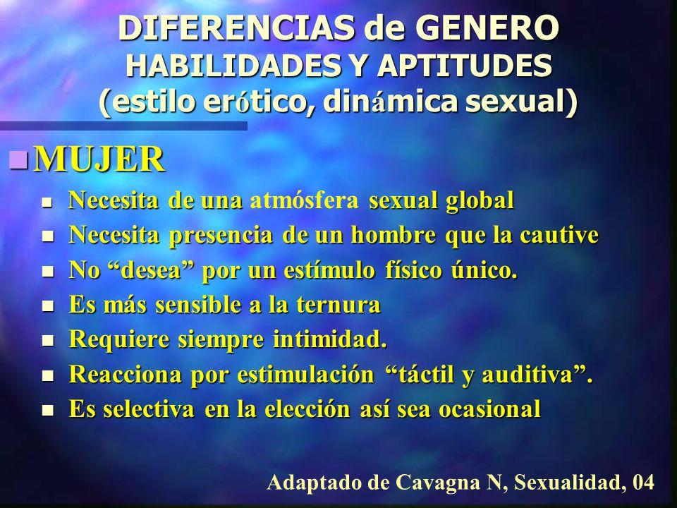 DIFERENCIAS de GENERO HABILIDADES Y APTITUDES (estilo erótico, dinámica sexual)