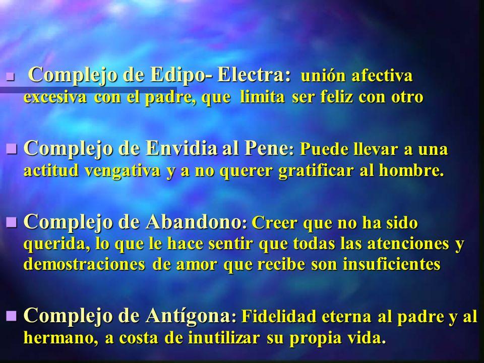 Complejo de Edipo- Electra: unión afectiva excesiva con el padre, que limita ser feliz con otro
