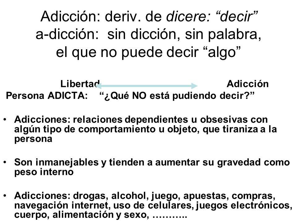 Adicción: deriv. de dicere: decir a-dicción: sin dicción, sin palabra, el que no puede decir algo