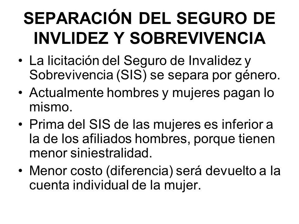 SEPARACIÓN DEL SEGURO DE INVLIDEZ Y SOBREVIVENCIA