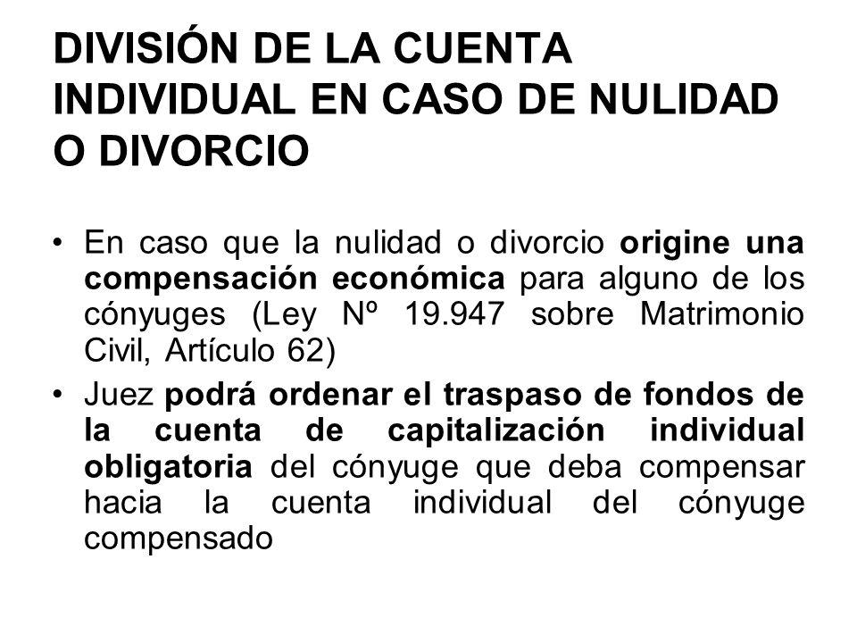 DIVISIÓN DE LA CUENTA INDIVIDUAL EN CASO DE NULIDAD O DIVORCIO