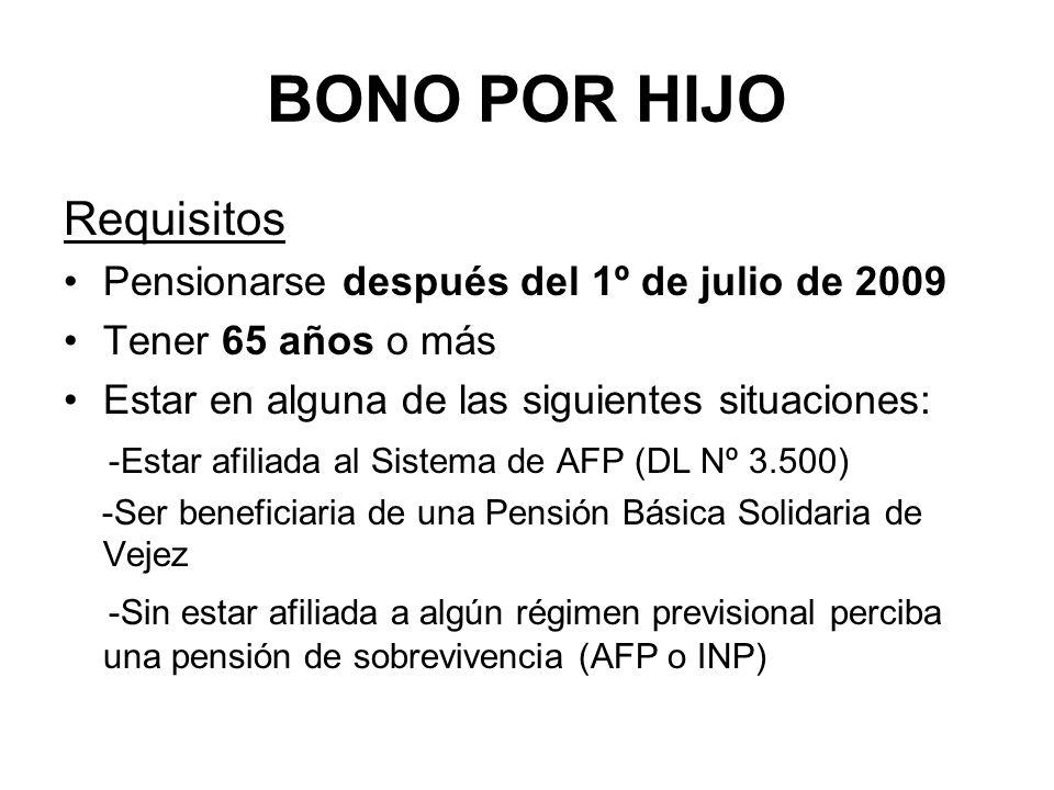 BONO POR HIJO Requisitos Pensionarse después del 1º de julio de 2009
