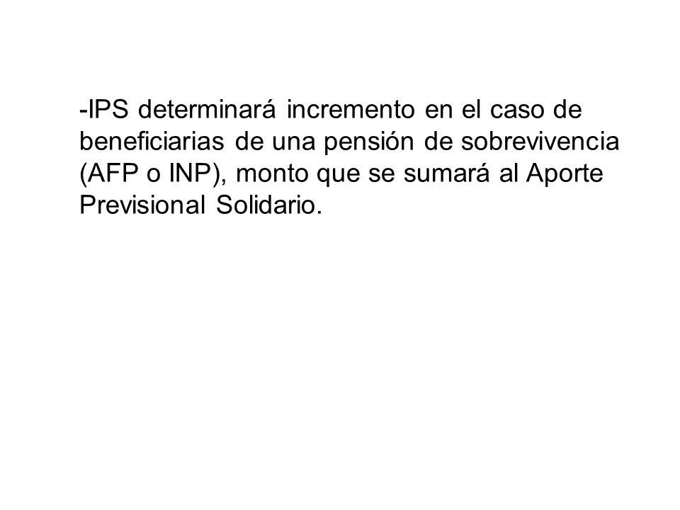-IPS determinará incremento en el caso de beneficiarias de una pensión de sobrevivencia (AFP o INP), monto que se sumará al Aporte Previsional Solidario.