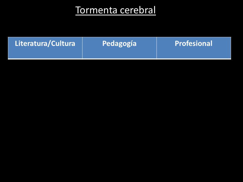 Tormenta cerebral Literatura/Cultura Pedagogía Profesional