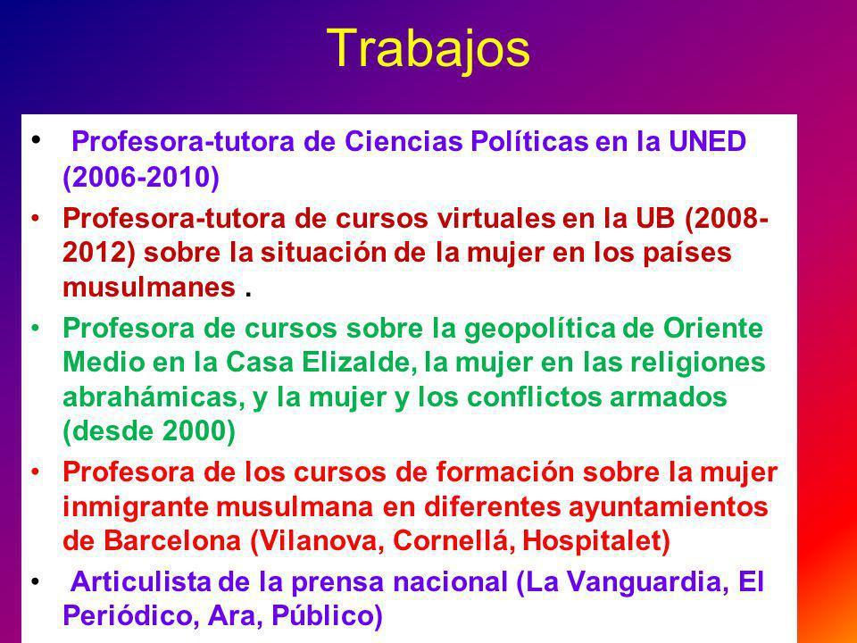 Trabajos Profesora-tutora de Ciencias Políticas en la UNED (2006-2010)