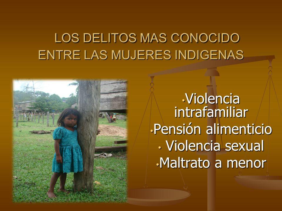 LOS DELITOS MAS CONOCIDO ENTRE LAS MUJERES INDIGENAS