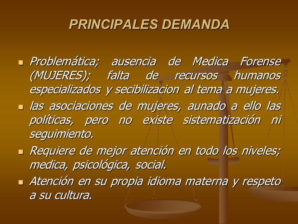 PRINCIPALES DEMANDA Problemática; ausencia de Medica Forense (MUJERES); falta de recursos humanos especializados y secibilizacion al tema a mujeres.
