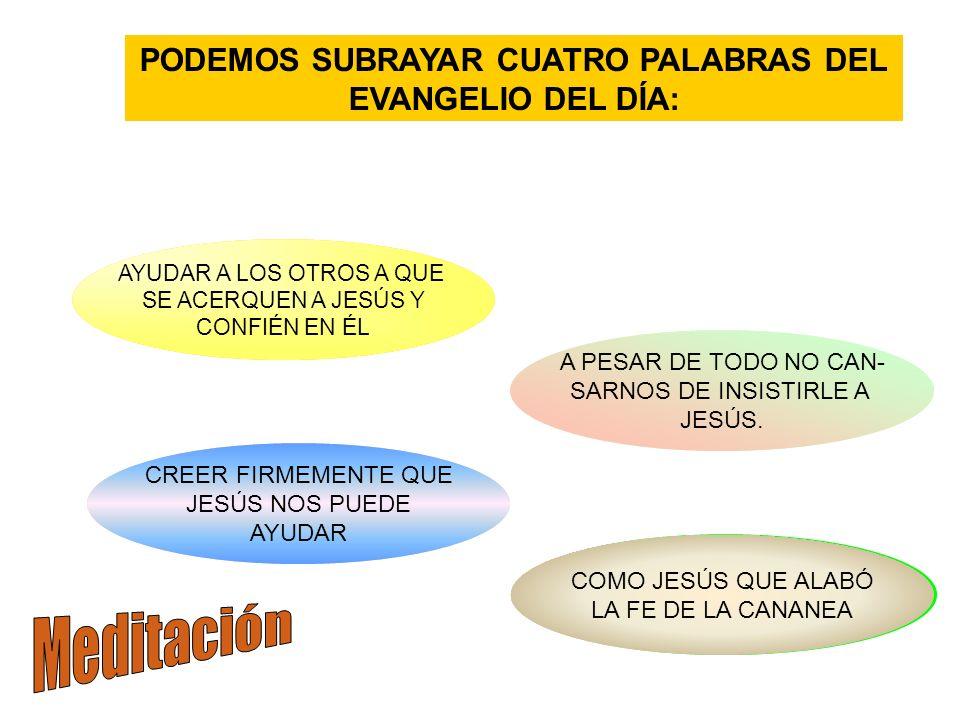PODEMOS SUBRAYAR CUATRO PALABRAS DEL EVANGELIO DEL DÍA: