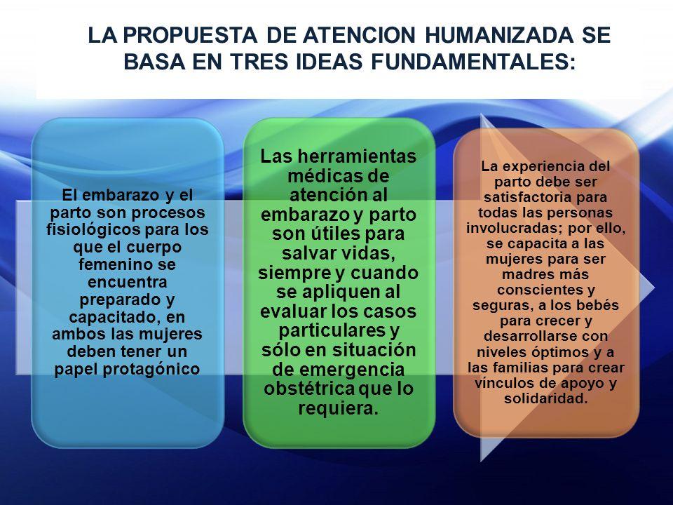 LA PROPUESTA DE ATENCION HUMANIZADA SE BASA EN TRES IDEAS FUNDAMENTALES: