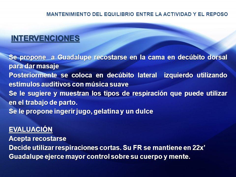 MANTENIMIENTO DEL EQUILIBRIO ENTRE LA ACTIVIDAD Y EL REPOSO