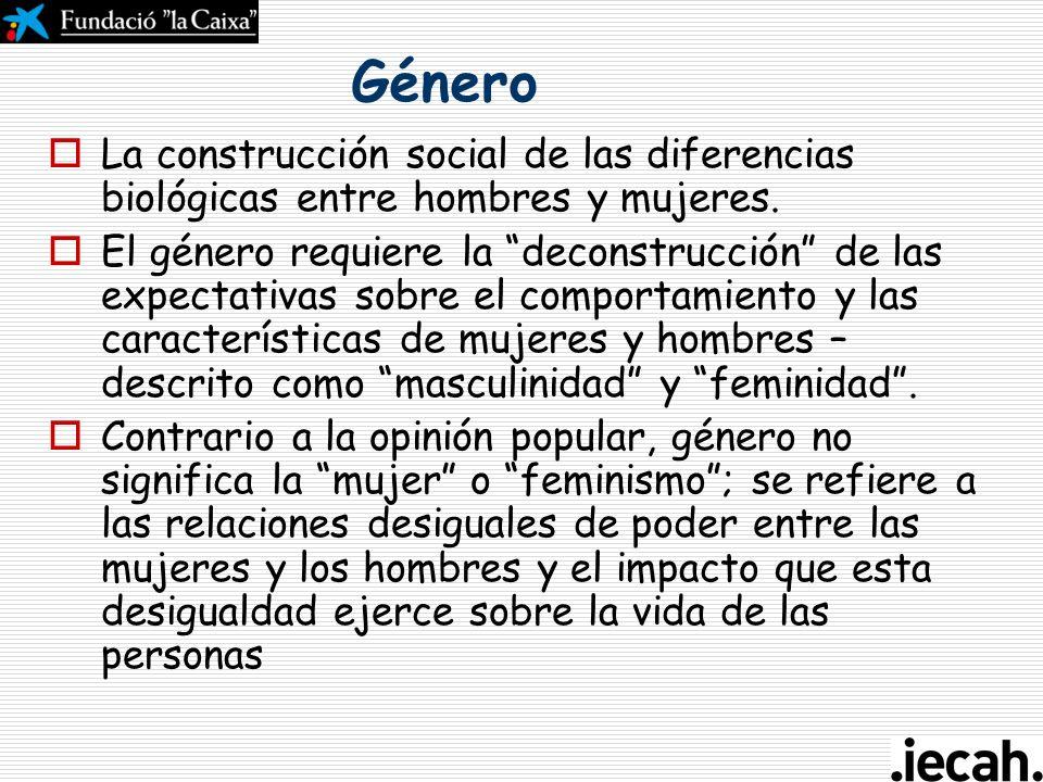 Género La construcción social de las diferencias biológicas entre hombres y mujeres.