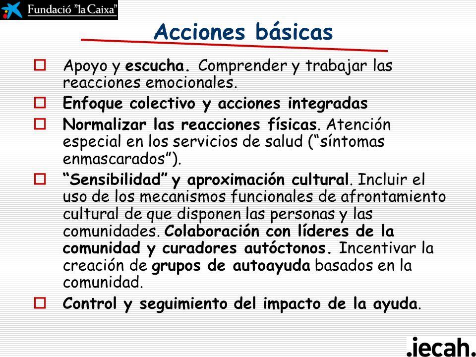 Acciones básicas Apoyo y escucha. Comprender y trabajar las reacciones emocionales. Enfoque colectivo y acciones integradas.