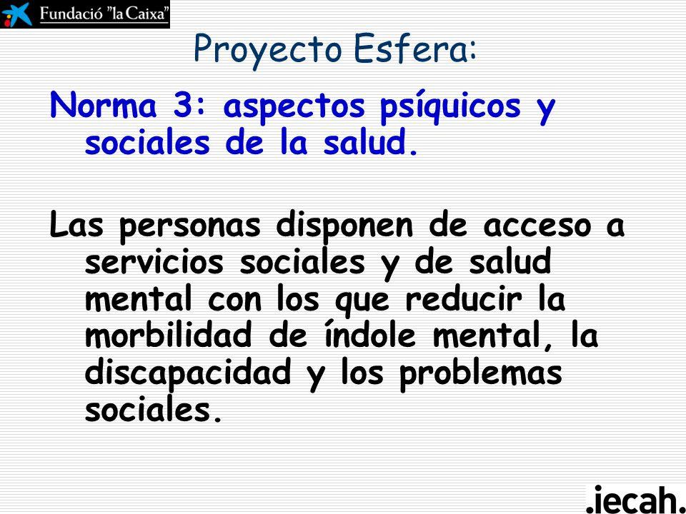 Proyecto Esfera: Norma 3: aspectos psíquicos y sociales de la salud.