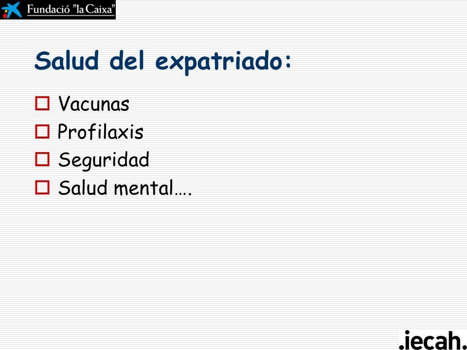 Salud del expatriado: Vacunas Profilaxis Seguridad Salud mental….