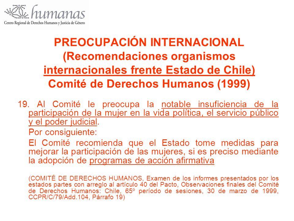 PREOCUPACIÓN INTERNACIONAL (Recomendaciones organismos internacionales frente Estado de Chile) Comité de Derechos Humanos (1999)