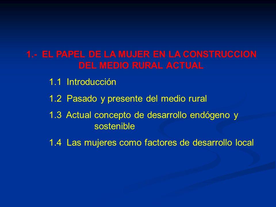 1.- EL PAPEL DE LA MUJER EN LA CONSTRUCCION DEL MEDIO RURAL ACTUAL