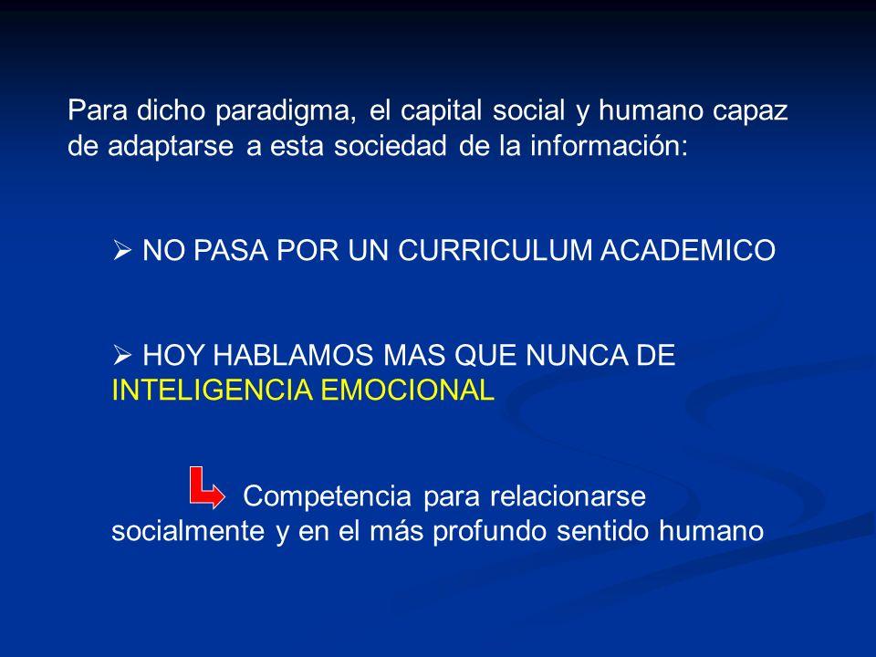 Para dicho paradigma, el capital social y humano capaz de adaptarse a esta sociedad de la información: