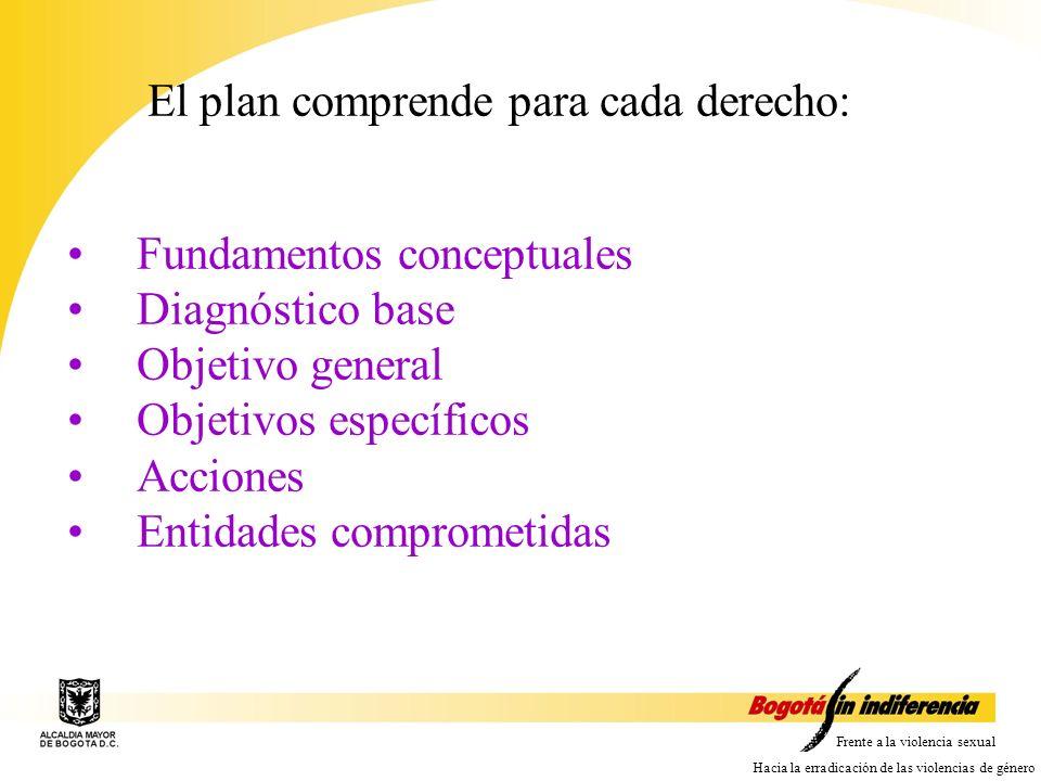 El plan comprende para cada derecho: