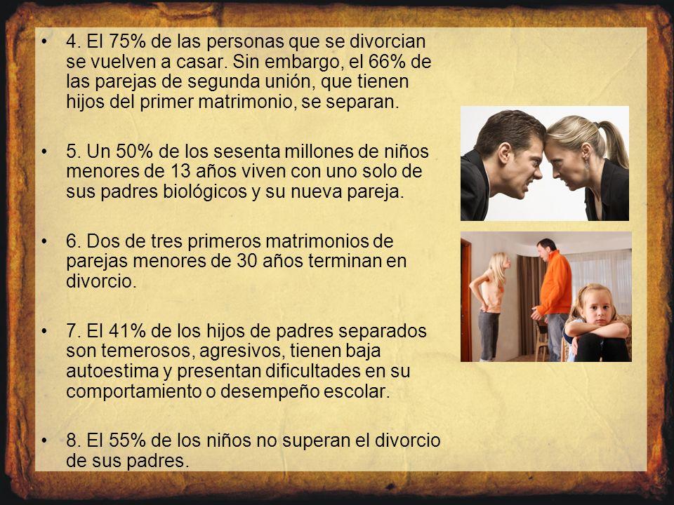 4. El 75% de las personas que se divorcian se vuelven a casar