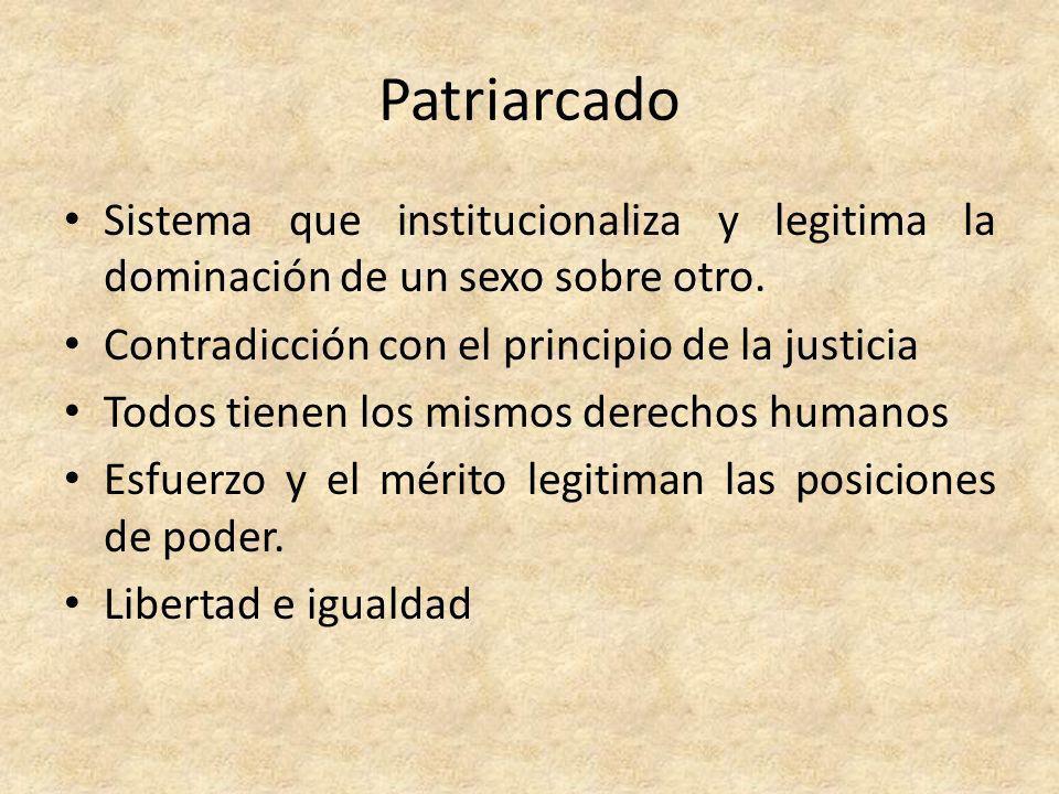 Patriarcado Sistema que institucionaliza y legitima la dominación de un sexo sobre otro. Contradicción con el principio de la justicia.