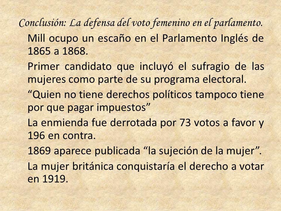 Conclusión: La defensa del voto femenino en el parlamento