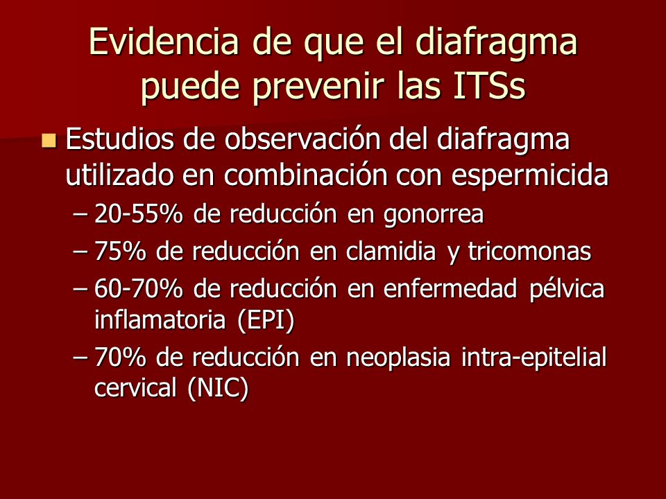 Evidencia de que el diafragma puede prevenir las ITSs
