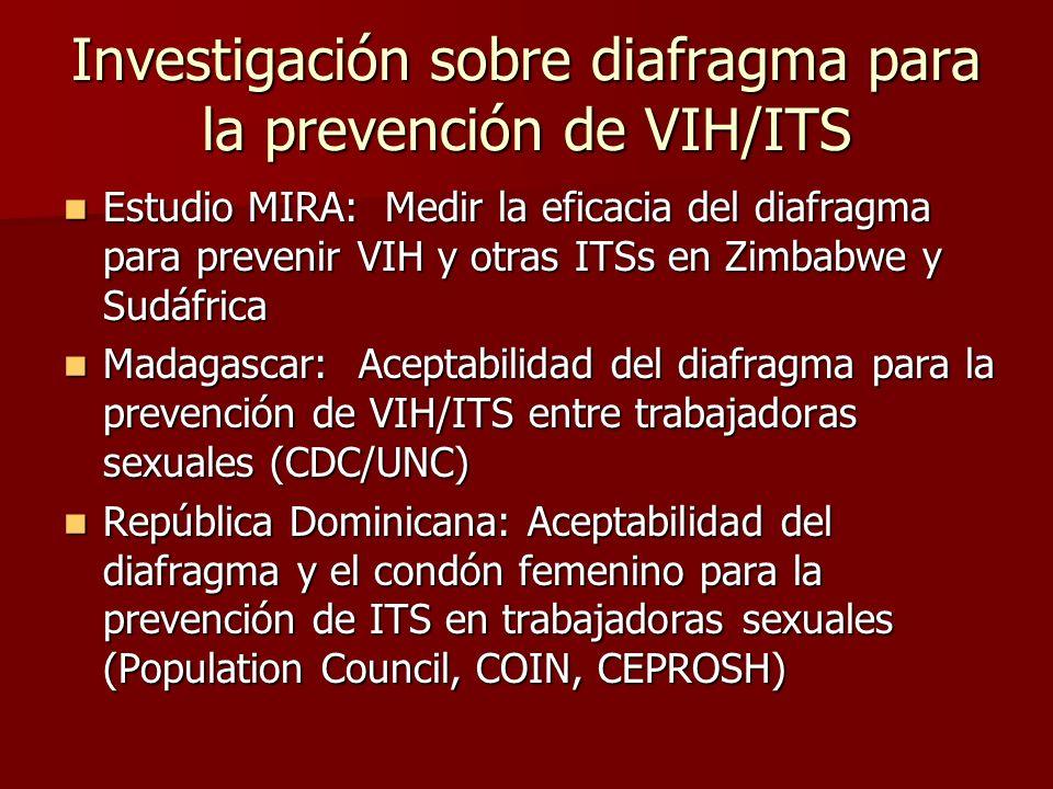 Investigación sobre diafragma para la prevención de VIH/ITS