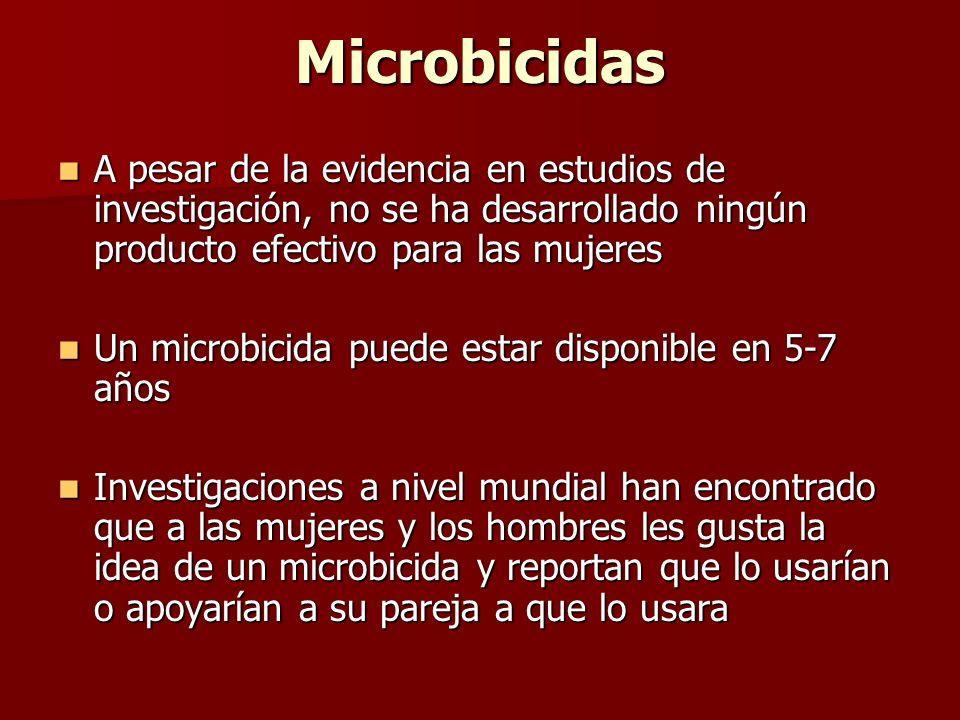 Microbicidas A pesar de la evidencia en estudios de investigación, no se ha desarrollado ningún producto efectivo para las mujeres.