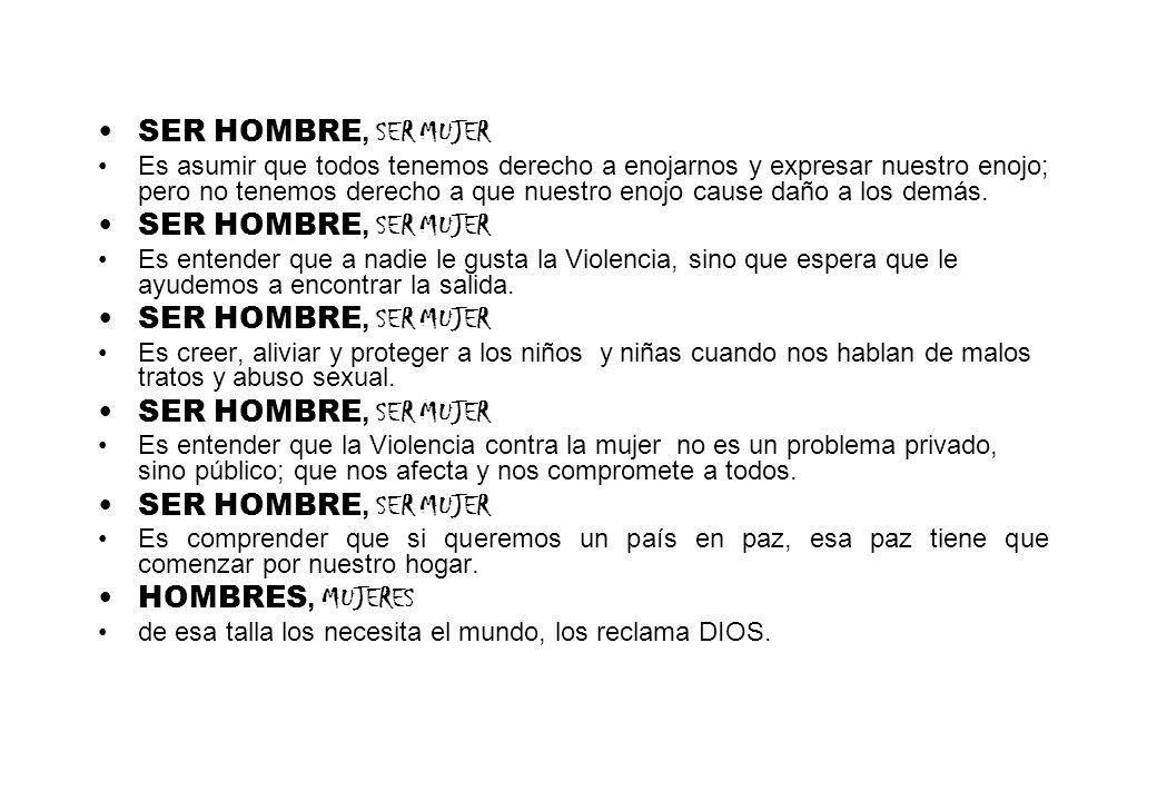 SER HOMBRE, SER MUJER HOMBRES, MUJERES