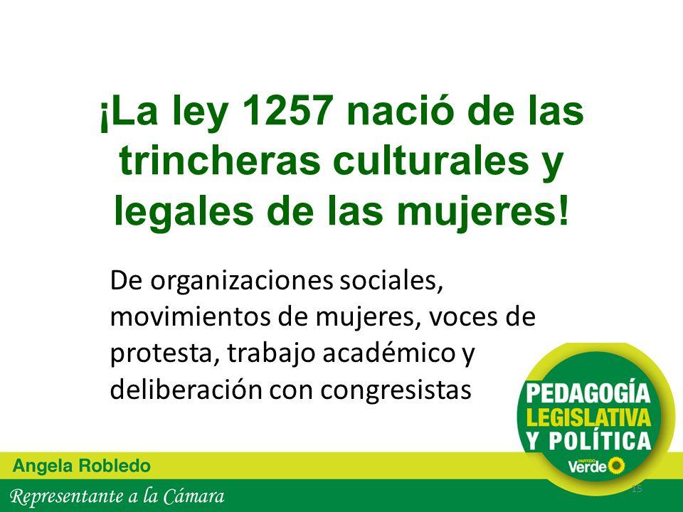 ¡La ley 1257 nació de las trincheras culturales y legales de las mujeres!