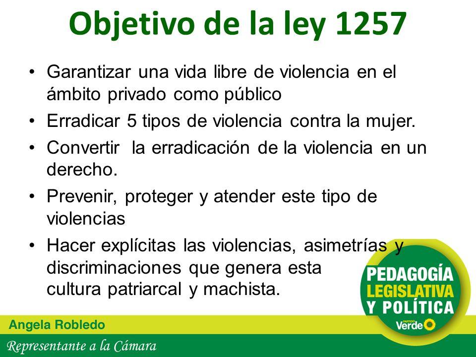 Objetivo de la ley 1257 Garantizar una vida libre de violencia en el ámbito privado como público. Erradicar 5 tipos de violencia contra la mujer.