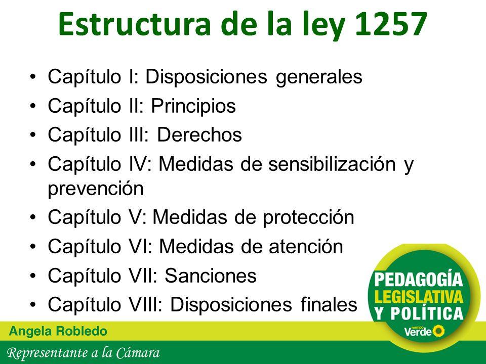 Estructura de la ley 1257 Capítulo I: Disposiciones generales