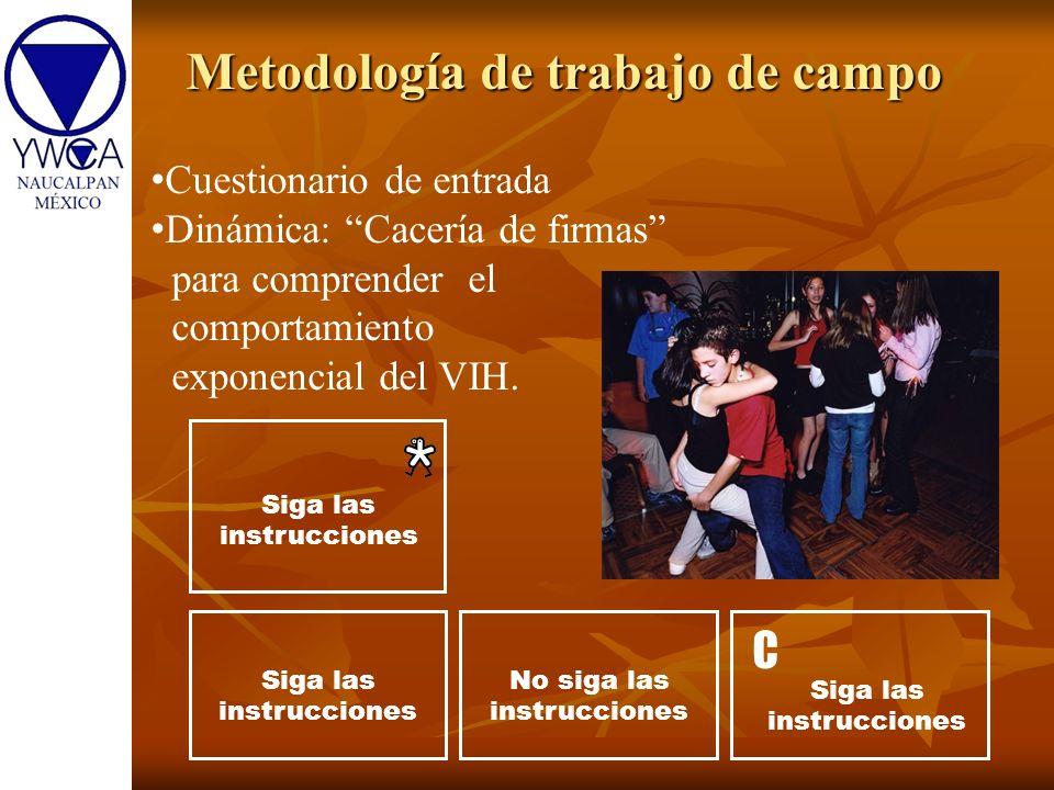 Metodología de trabajo de campo Siga las instrucciones