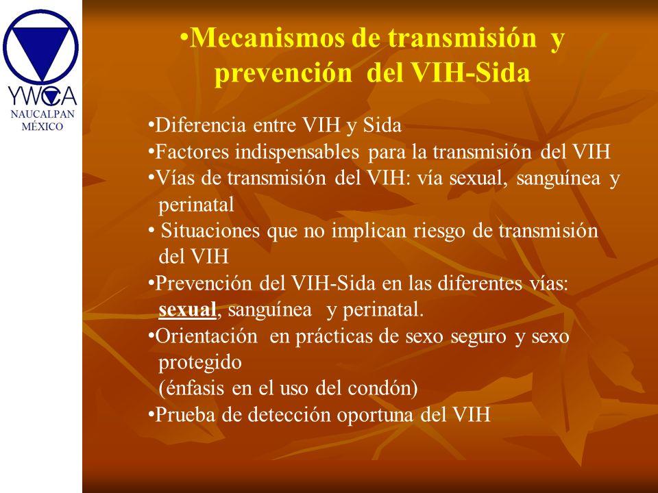 Mecanismos de transmisión y prevención del VIH-Sida