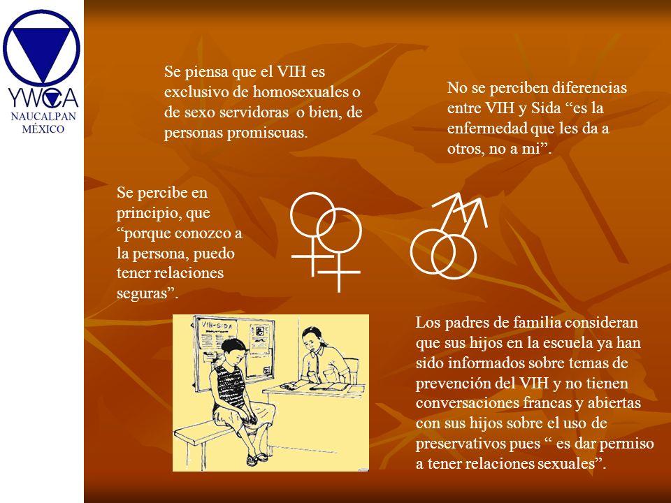 Se piensa que el VIH es exclusivo de homosexuales o de sexo servidoras o bien, de personas promiscuas.