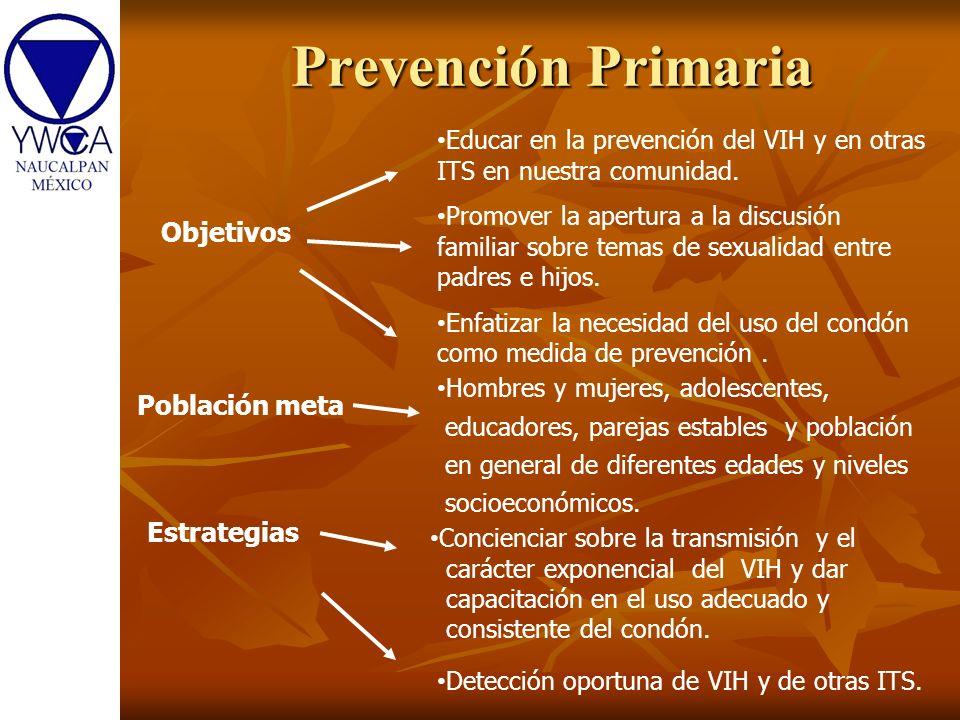 Prevención Primaria Objetivos Población meta Estrategias