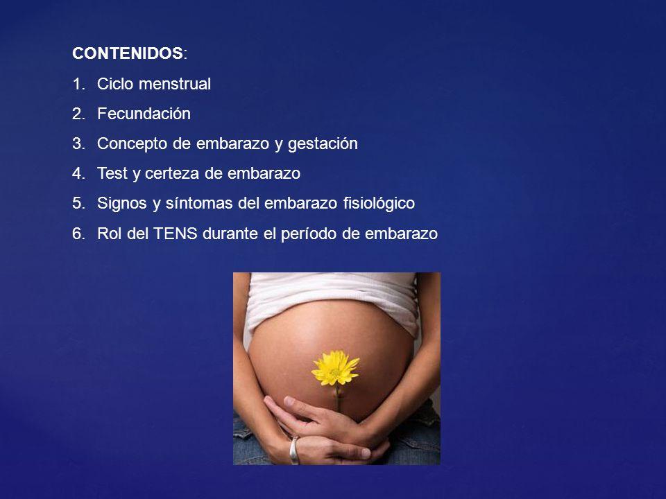 CONTENIDOS: Ciclo menstrual. Fecundación. Concepto de embarazo y gestación. Test y certeza de embarazo.