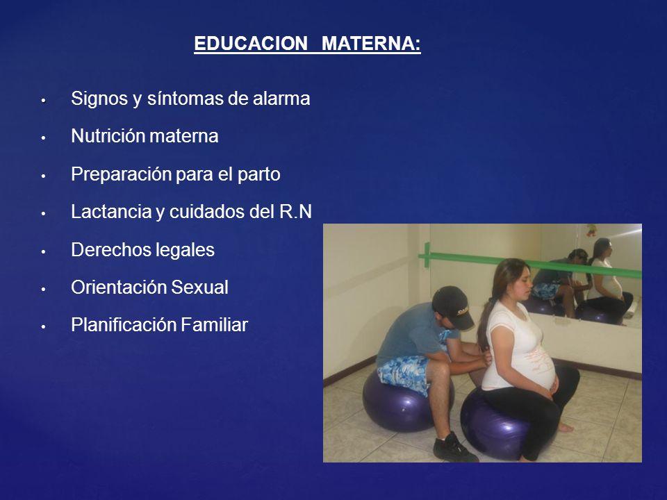EDUCACION MATERNA: Signos y síntomas de alarma. Nutrición materna. Preparación para el parto. Lactancia y cuidados del R.N.