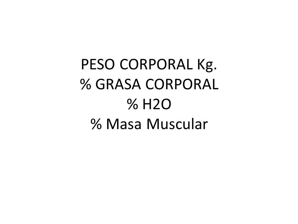 PESO CORPORAL Kg. % GRASA CORPORAL % H2O % Masa Muscular