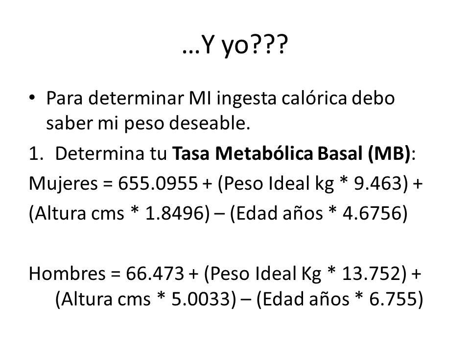 …Y yo Para determinar MI ingesta calórica debo saber mi peso deseable. Determina tu Tasa Metabólica Basal (MB):