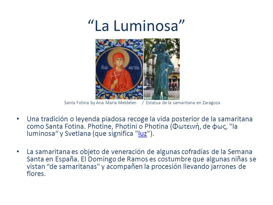 La Luminosa Santa Fotina by Ana María Meldelen / Estatua de la samaritana en Zaragoza.