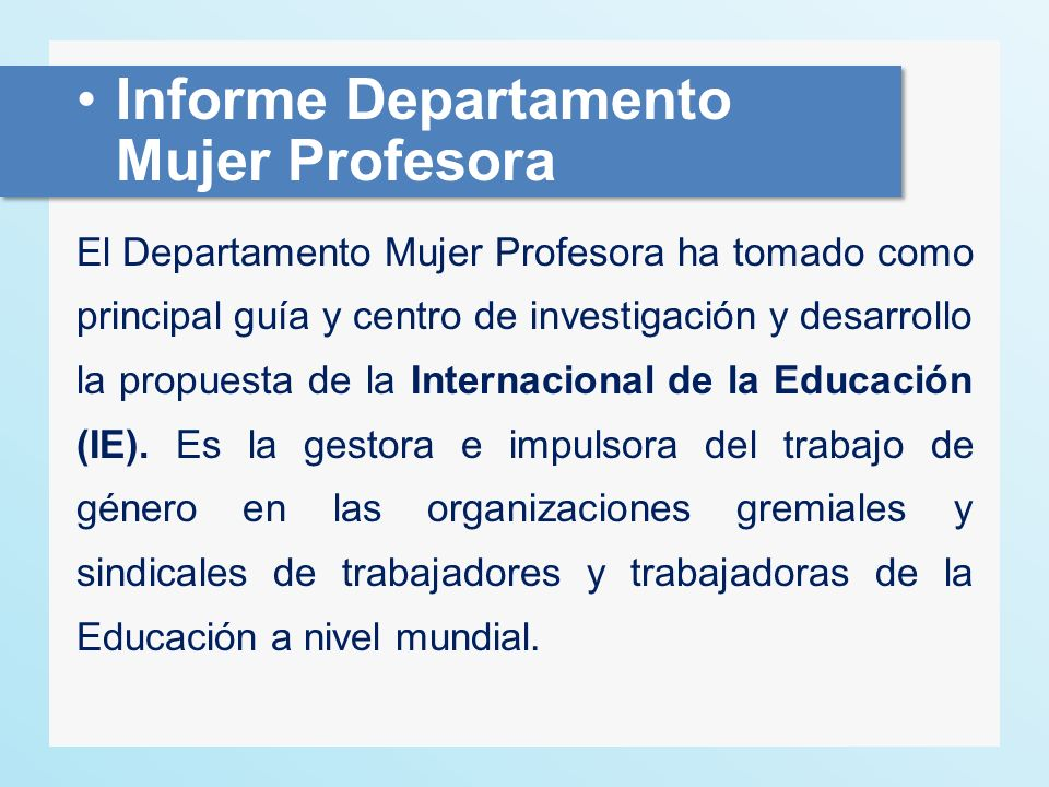 Informe Departamento Mujer Profesora