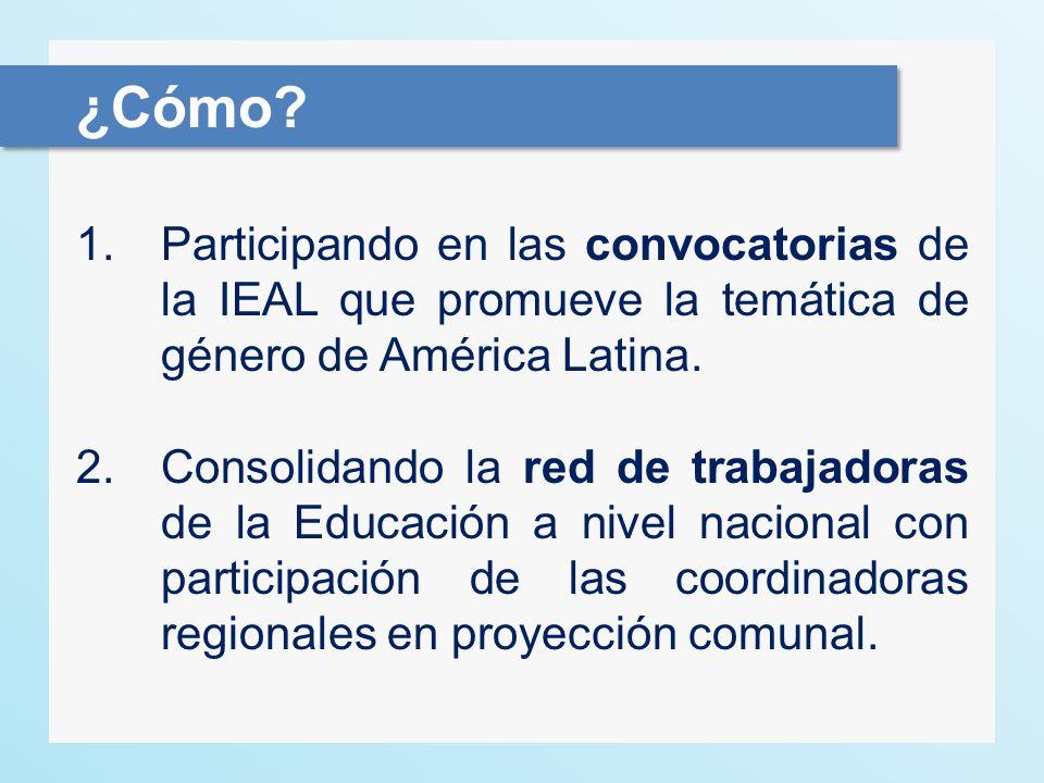 ¿Cómo Participando en las convocatorias de la IEAL que promueve la temática de género de América Latina.