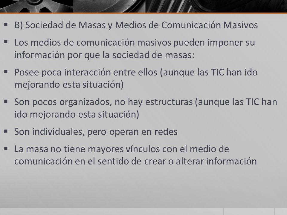 B) Sociedad de Masas y Medios de Comunicación Masivos