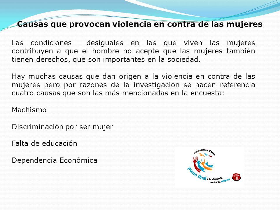Causas que provocan violencia en contra de las mujeres