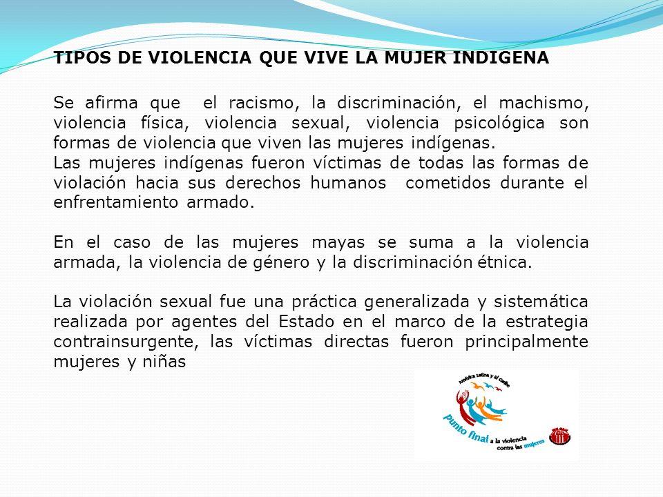 TIPOS DE VIOLENCIA QUE VIVE LA MUJER INDIGENA