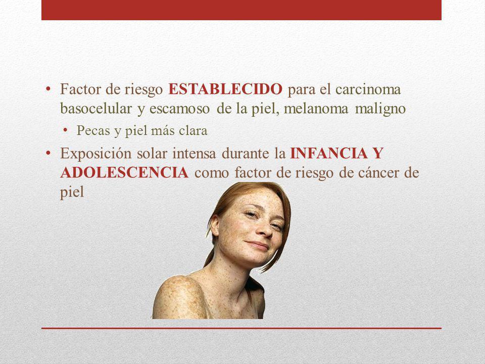 Factor de riesgo ESTABLECIDO para el carcinoma basocelular y escamoso de la piel, melanoma maligno