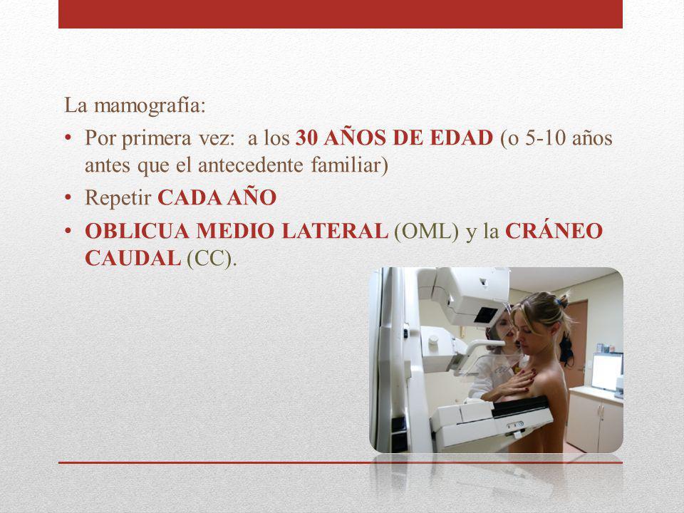 La mamografía: Por primera vez: a los 30 AÑOS DE EDAD (o 5-10 años antes que el antecedente familiar)